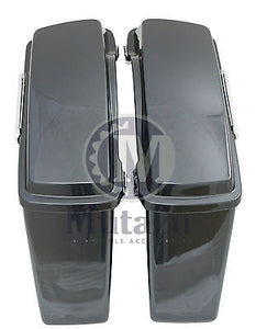 Mutazu Black Pearl Complete Hard Saddlebags for Harley Touring Models FLH FLT