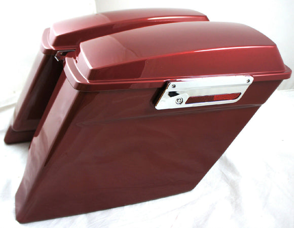 Fat Ass Wide Fire Red Extended Stretched Hard Saddlebag Fits Harley HD Touring