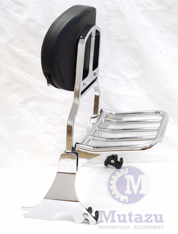Detachable Sissy Bar for 04 - UP Harley Sportster, 883 1200 Backrest with Rack