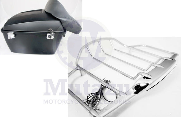 Matte Black King Tour Pak Wrap around backrest LED Air Wing Rack for Harley HD