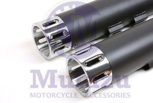 "Black 4"" Roaring Series MF-05 Slip-On Mufflers Exhaust 1995-2016 Harley Touring"