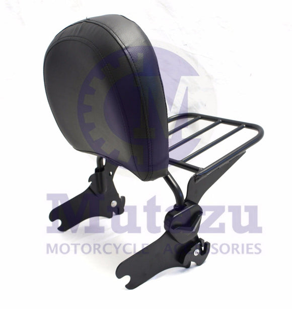 Matte Black Detachable Backrest Sissy Bar w/ rack fit 94-08 Harley® HD Touring
