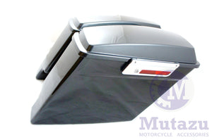 "Mutazu 4"" Extended Fat Ass Stretched Black Pearl Hard Saddlebags for HD Touring"