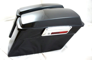 "Mutazu Fat Ass 2"" Wider Black Pearl Hard Saddlebags For Harley Touring FLH FLT"
