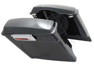 "Mutazu 4"" Stretched Black Pearl Hard Saddlebags for Harley Touring 94-13 FLH FLT"