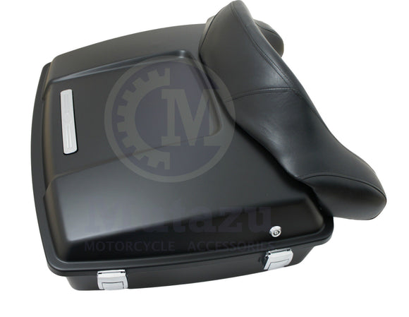 Mutazu Matte Black Razor Tour Pak with Wrap around Backrest fits Harley Touring