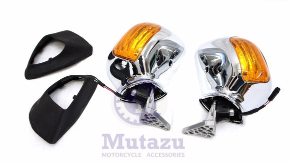 Mutazu pair rear view mirrors set Assembly fits Honda Goldwing GL1800 2001-2012