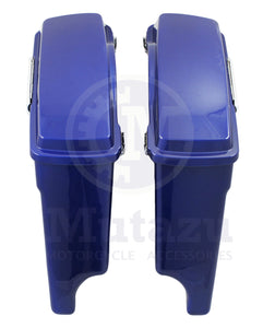 "Complete Cobalt Blue 4"" Extended Hard Saddlebags For Harley Touring Models 94-13"