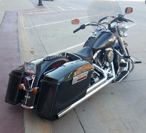"2"" Wider Complete Vivid Black Fat Saddlebags for Harley Touring"