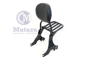 Mutazu Black Detachable Sissy Bar w/ Luggage Rack for 04 - UP Harley Sportster