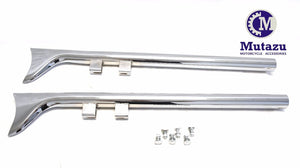 "Mutazu 33"" 1 7/8"" Fish tail Fishtail Exhaust Slip On Mufflers 95-16 Harley Touring (No Baffle)"