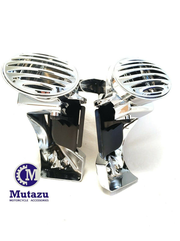 Chrome Vented Lower Fairing w/ 6x9 Speaker Boxes Pods for 94-13 Harley Touring