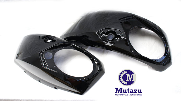 Mutazu Black 6x9 Saddlebag Audio Speaker Lids for Victory Cross Country Road