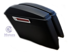 "Mutazu Matte Black 4"" Stretched CVO Extended Bags for 2014 - UP Harley Touring"
