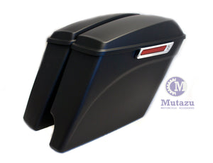 Matte Black 2 in 1 Cut Extended Stretched Saddlebags for 2014-up Harley Touring