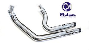 "Mutazu Chrome Cannon 2.5"" Dual Exhaust System Mufflers for Harley Sportster 2004-2013"