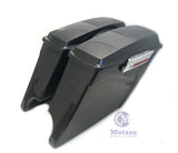 Black Pearl Extended Stretched Saddlebags with 6x9 speaker lids for HD Touring