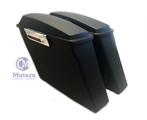 No Cut Out Matte Black Extended Stretched Saddlebags for 94-2013 Harley Tourings