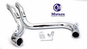 "Mutazu Chrome 2"" Drag LAF Pipes Exhaust Mufflers for Harley Touring Dyna Softail Sportster"