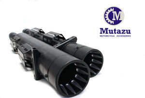 "MUTAZU Black Fluted Caps 4"" Thunder VM-04-B Slip On Mufflers Exhaust Victory Cross Country Road"