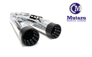 "MUTAZU Chrome Fluted Caps 4"" Thunder VM-04-CB Slip On Mufflers Exhaust Victory Cross Country Road"