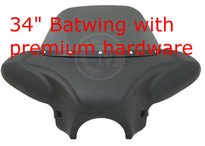 Universal Matte Black Batwing Fairing & Tinted Windshield with Premium Hardware