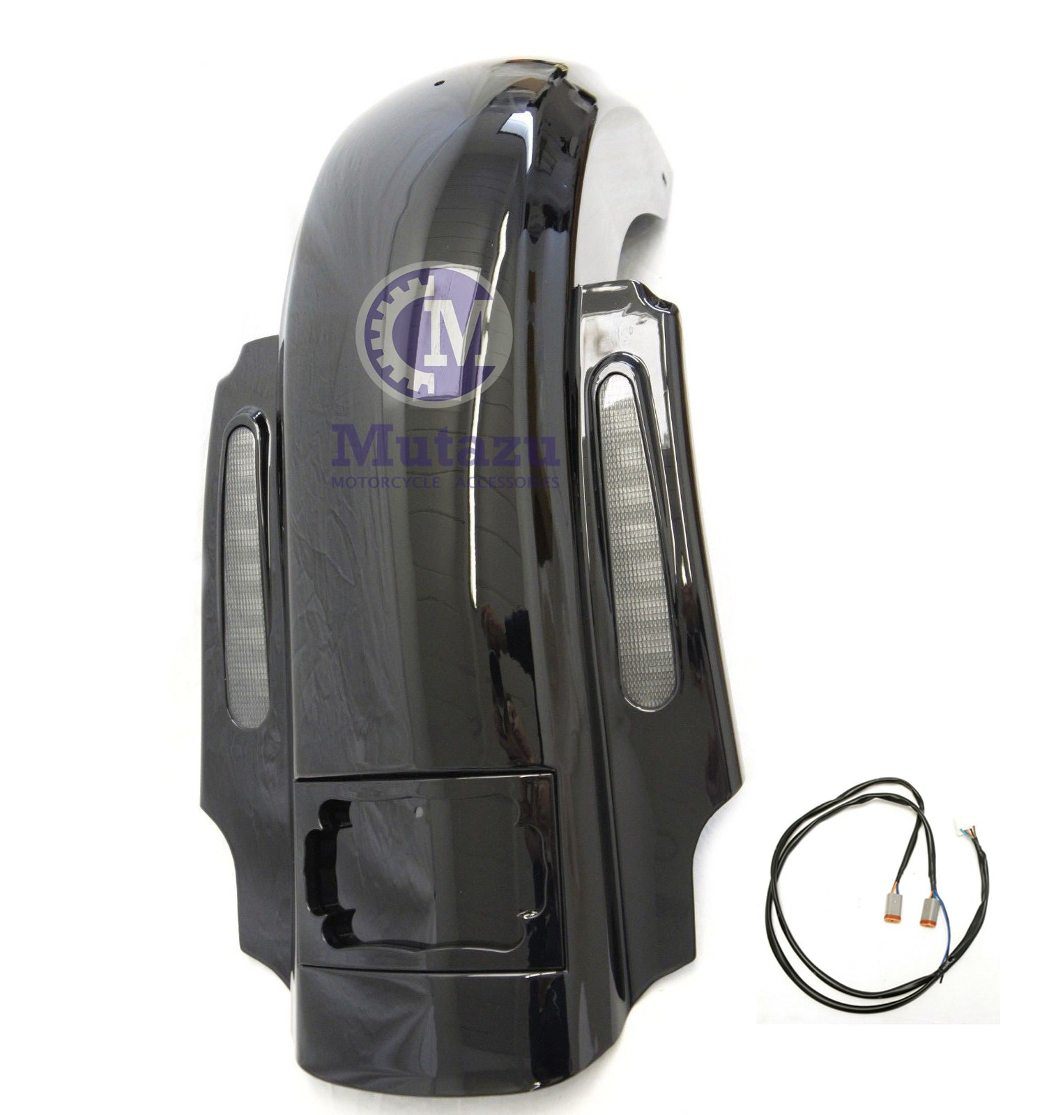 Cvo Dual Cut Extended Rear Fender W Led   Wire Harness For