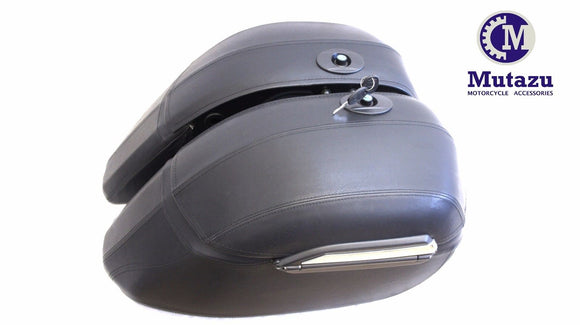 Mutazu Leather Wrapped Hard Saddlebags with universal mounting brackets