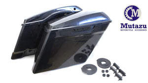 "Mutazu 2014-up Raw 4.5"" STRETCHED HARD SADDLEBAGS EXTENDED HARLEY SADDLE BAGS"