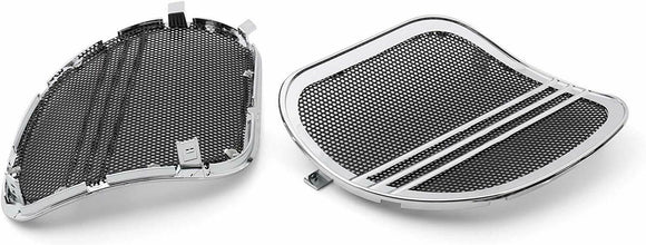 Mutazu Chrome Tri-Line Speaker Grills Cover Trim For Road Glide FLTRX 15-19