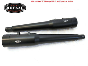 "MUTAZU 4"" Competition 2.0 Megaphone Slip-On Mufflers Exhaust for 95-16 Harley"
