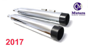 "MUTAZU 4"" Roaring Series MF-13N Slip-On Mufflers Exhaust Harley Touring 2017 -UP"