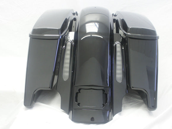 Dual Cut Out Rear CVO Style Fender System w/ Extended Saddlebags For Harley Touring Electra Glide 2009-2018
