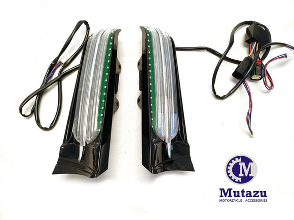 Black LED Light Filler Panel w/ Sequential Turn Signals for Harley Touring 14-UP