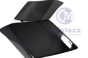 Mutazu Custom Fire Vivid Black Stretch Extended Side Covers For 89-13 Harley Touring Models