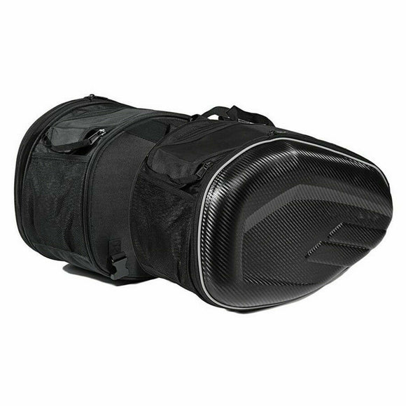 Motorcycle Expandable Saddle Bags Saddlebags W Rain Cover Carbon Fiber Look