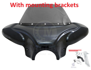 Universal Motorcycle Batwing Fairing w/ Windshield w/ Standard mounting brackets