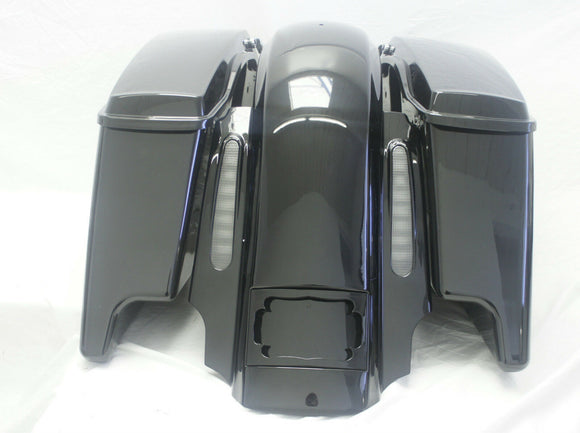 CVO Dual Cutout Stretched Extended Fender/ saddlebags w Speaker Lids set 2014 up