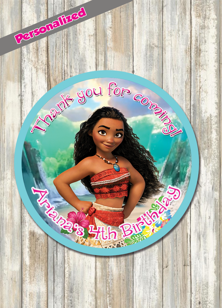 24 printed moana birthday party stickers round labels circle tags cupcake toppers label loot bags