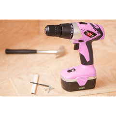 Pink Power Drill in workshop