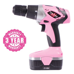 Pink power drill with warranty.