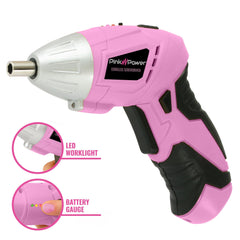 Pink Power PP481 3.6 Volt Cordless Electric Screwdriver Kit