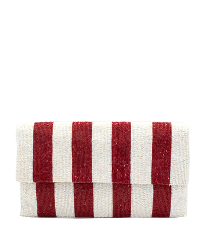 Beaded Envelop Clutch - Red / White Stripe
