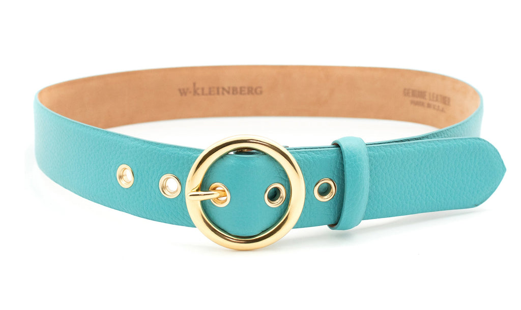 Gold Circle Buckle Belt - Turquoise