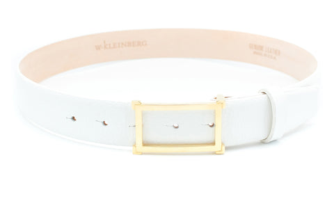 Gold Window Buckle Belt - White