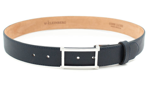Silver Window Buckle Belt - Navy