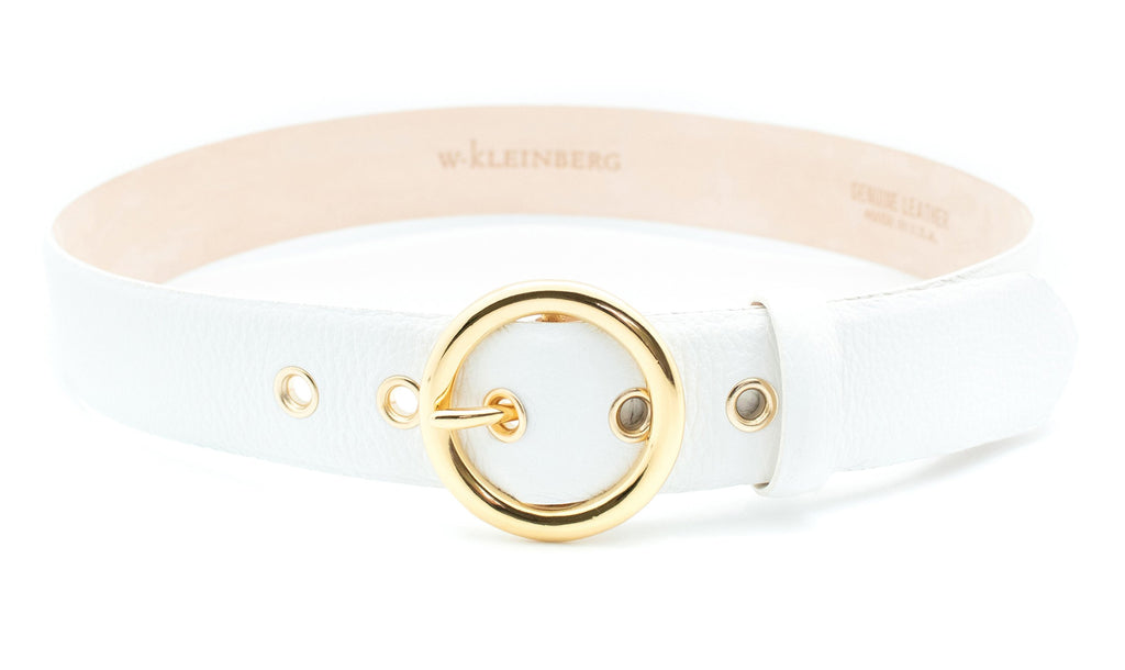 Gold Circle Buckle Belt - White
