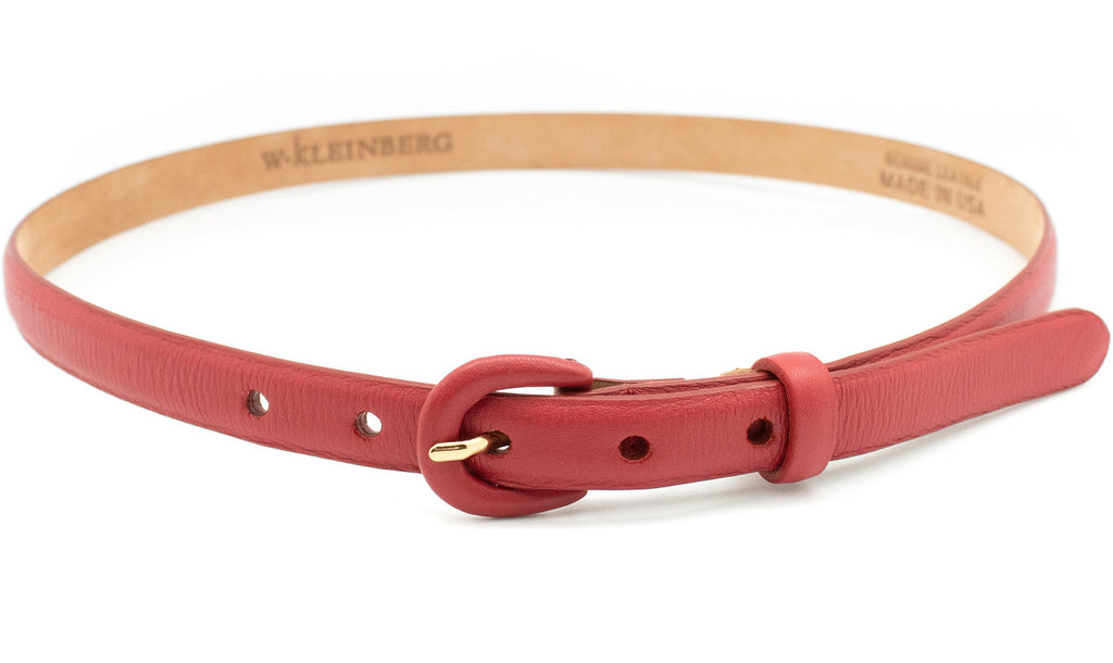 Narrow Covered Buckle Belt - Red