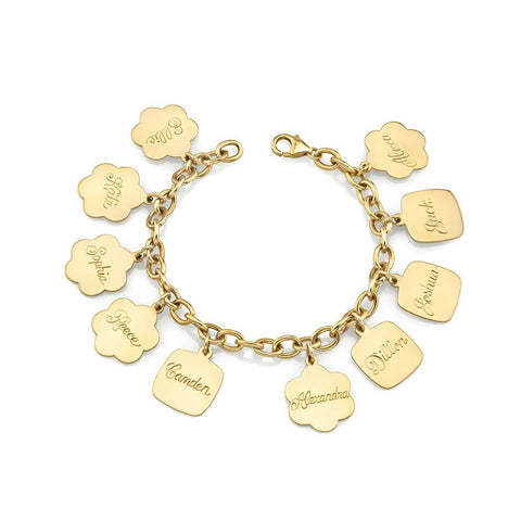 Gold Solid Link Charm Bracelet (Charms sold separately)