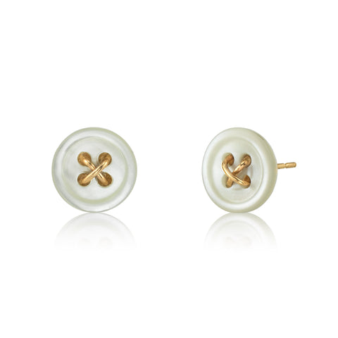 Cute As A Button - Gold Button Earrings